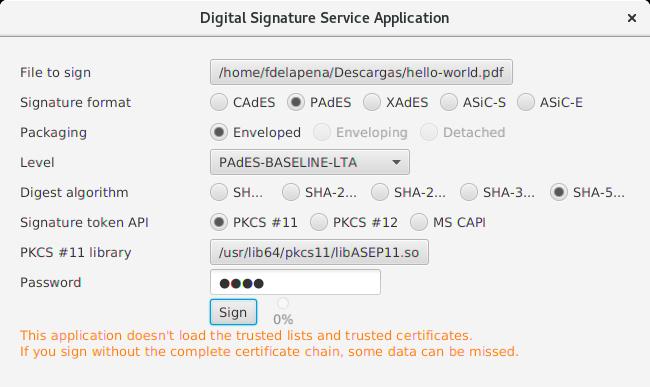 Firmador DSS configurado